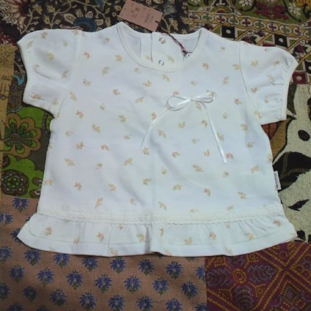 COMME CA ISM/コムサイズム小花柄 パフ袖 Tシャツ 80�p  < ブランドの