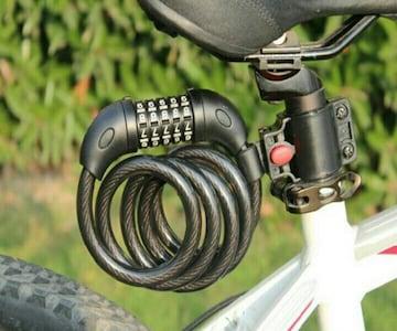 自転車 バイク ダイヤル式5桁ワイヤーロック