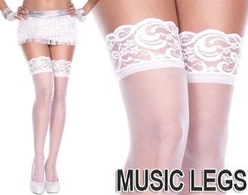 A519)MusicLegsシリコン付きレーストップサイハイストッキング白ホワイトタイツダンス衣装