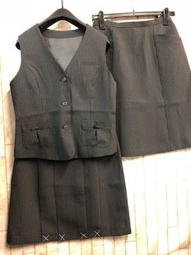 新品☆11号お仕事ベストスーツ2種スカート黒ストライプ56丈n309