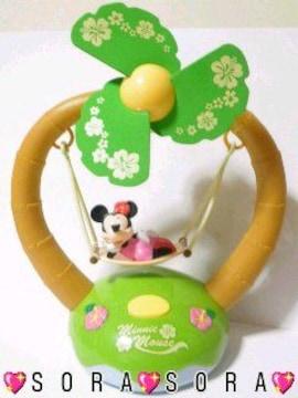 ディズニー【ミニー】羽根角度3段調整♪コンセントいらない卓上扇風機