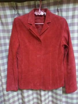 ★スエード オシャレデザイン ジャケット ジャンバー 気品 赤系色 サイズM位★
