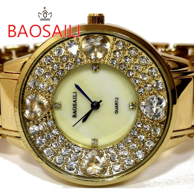 新品/未使用【箱付】BAOSAILI【クリスタル】美しい腕時計  < 女性アクセサリー/時計の