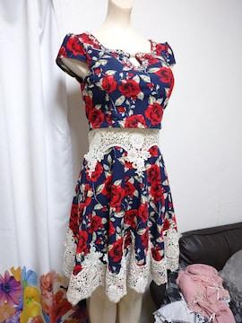 花柄 Aライン ナイトドレス
