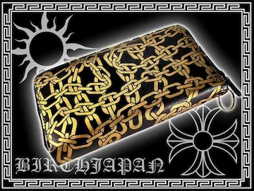 16黒/チェーン柄長財布/悪羅悪羅系オラオラ系ヤンキーチンピラチョイ悪/メンエグ小物
