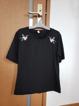 刺繍 半袖 Tシャツ ブラック