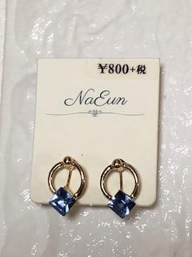 新品NaEunブルーストーン付きゴールドサークルイヤリング青水色