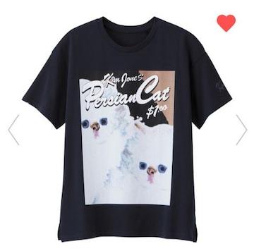 GU×キムジョーンズ・ネコキャラクターTシャツ。ネイビー
