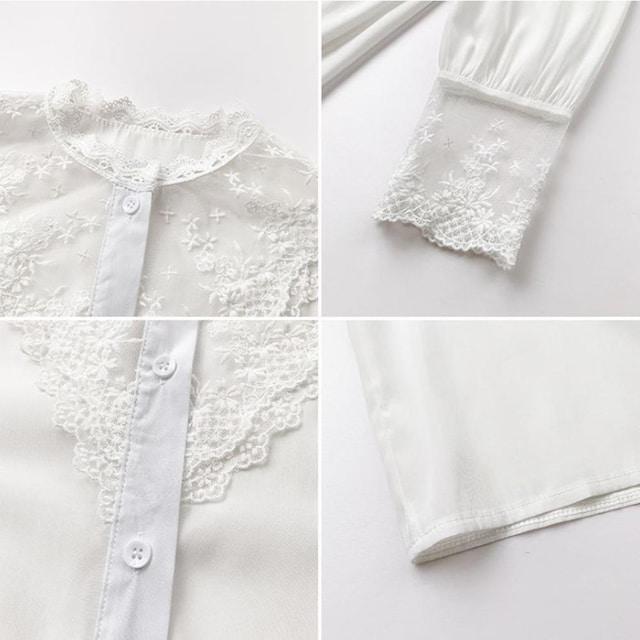 シャツ ブラウス レディース 刺繍 レースブラウス トップス < 女性ファッションの