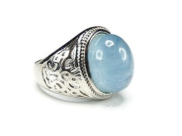 濃い目半透明アクアマリン大粒指輪20号天然石石街U0363