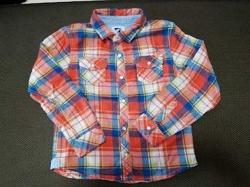 美品♪Arnold Palmer☆ネルシャツ♪オレンジ×ブルー・120�p