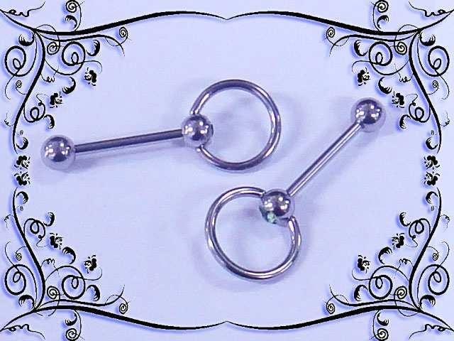 【ボディーピアス】リンググリーンジュエルストレー  < 男性アクセサリー/時計の