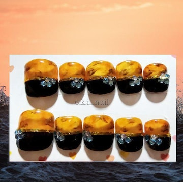 ジェルネイルチップ☆付け爪☆べっ甲×ブラック