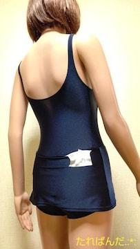 美品☆光沢ネイビーのスカート付競泳水着 記名有5535☆3点で即落