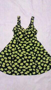 黄色フラワー花柄フレアタンキニチュニックタンクトップス&ショーツ一体型ワンピース水着〓黒
