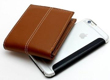 ダブルステッチライン 牛革 二つ折り財布