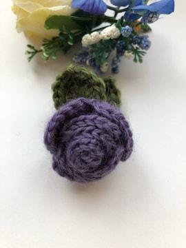 ハンドメイド ブローチ ヘアゴム 巻き巻き薔薇 パープル ウール