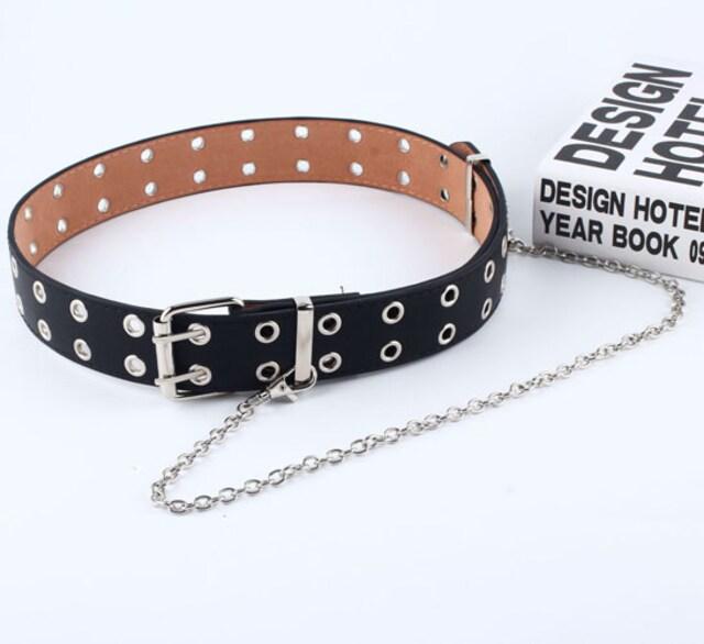 新品[7748]黒ダブルアイレットグロメット合皮バックルベルト/パンク < 女性ファッションの