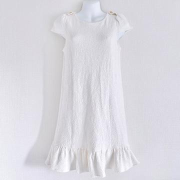 titty&Co.ホワイト白Whiteフリルパフスリーブ膝上ワンピース