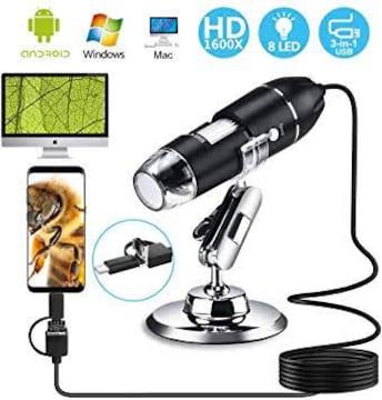 3-in-1 USB式顕微鏡 デジタル顕微鏡 マイクロスコープ 最大1600