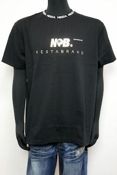 新品NESTABRANDリブJQゴールド箔Tシャツ212NB1003黒L