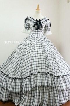 黒白ギンガム系チェックオフショルドレス M~Lサイズ