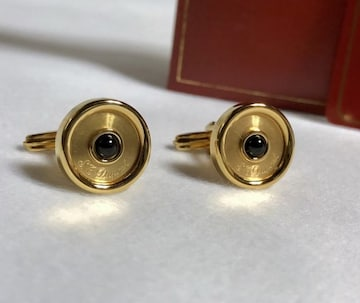 正規美 S.T.Dupont デュポン ブラックストーン×ロゴ オーバルカフス カフリンクス ボタン
