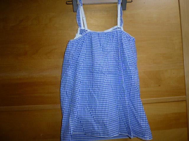 コットン綿ブラキャミMギンガムチェック新品ブラトップ青 < 女性ファッションの