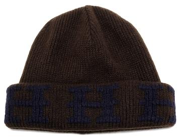 新品同様正規エルメス帽子Hロゴニット帽ニットキャップ#LAネ