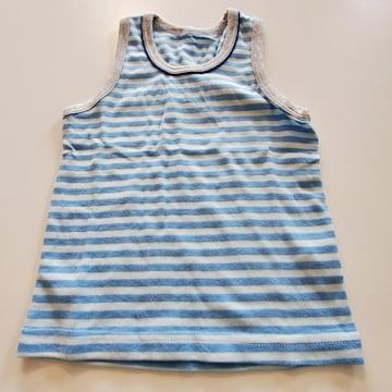 水色うすい水色ボーダーグレーのふち袖なし肌着80