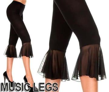 A175)MusicLegsカプリタイツ黒ベリーダンス衣装ダンサーレッスン着ストッキングレギンス