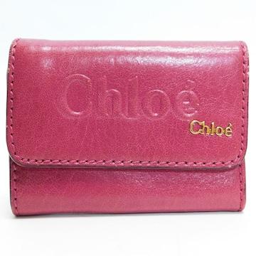 Chloeクロエ 三つ折り財布 レザー ピンク 良品 正規品