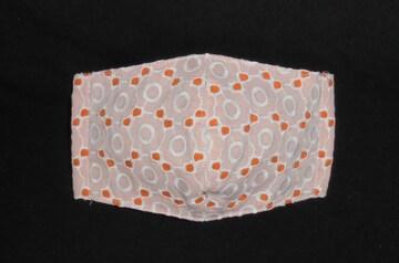 即決◆白レース丸い小花×オレンジ下地◆ファッションマスク