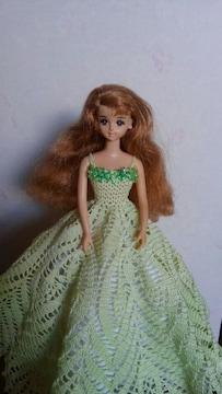 ジェニーちゃん薄緑のレース編みロングドレス