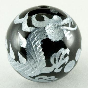 天然オニキス銀彫り☆手彫り☆皇帝の五爪龍16mmビーズ
