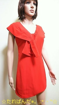 極美品☆真っ赤なクロスタイが綺麗なミニワンピW51☆3点で即落☆