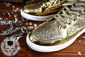 送料込 ラメ ハイカット スニーカー 靴 メンズ シューズ 厚底 オラオラ ダンス 107金27.0