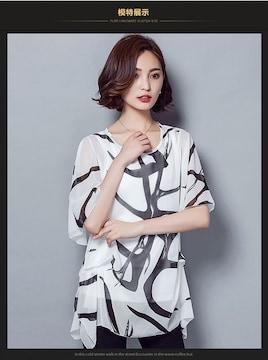 夏のスーパーバーゲン★新作インナー付シフォントップス 白XL