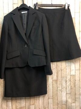 新品☆11号♪黒無地スカートスーツ♪スカート2種付♪☆n904