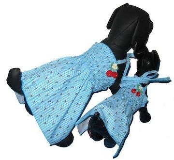J15)Sサイズ!チェリー付チェックワンピース水色犬服Dog