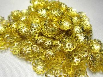ロンデル★フラワー型★黄金色、ゴールド色★500個セット