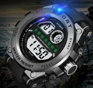 新品 送料無料 海外 SINOKE 腕時計デジタル 多機能 LED ブラック