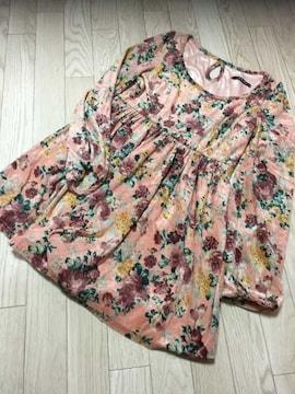 B601/INGNI/ピンク/花柄/長袖/ミニワンピ/