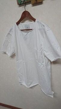 ZARA ビッグシルエット 切りっぱなしカットソー 半袖シャツ XL