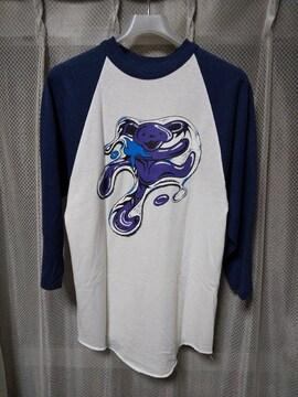 古着 ヴィンテージ ラグラン 七分袖Tシャツ ベースボール Sサイズ 紺×白 アメリカ製