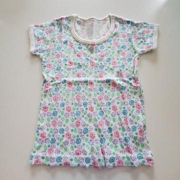 白に花柄、半袖シャツA90