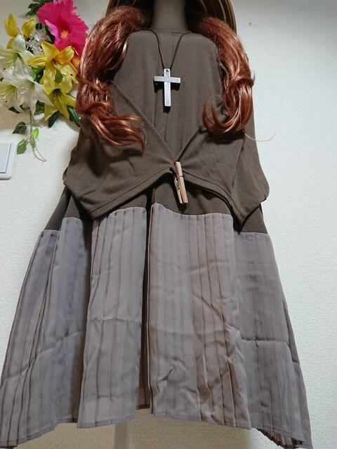 ★新品タグ8L★シフォンプリーツ切り替えカットソーチュニ  < 女性ファッションの