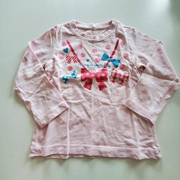 ピンクにリボンと水玉模様、長袖Tシャツ100
