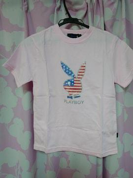 PLAYBOY プレイボーイピンクTシャツ S キラキラロゴ