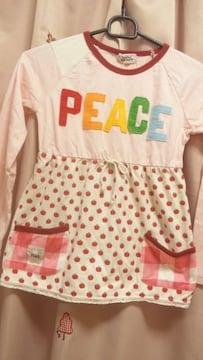 新品チュニックTシャツリンゴ柄&アップリケ130長袖